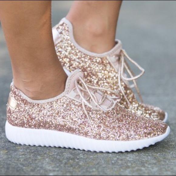 b9829ba63b76 SALE  LAST2   New ROSE GOLD Glitter Sneakers